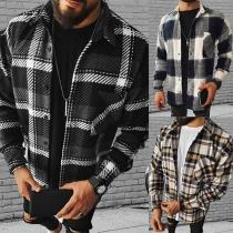 Casual Style Long Sleeve POLO Collar Man's Plaid Shirt