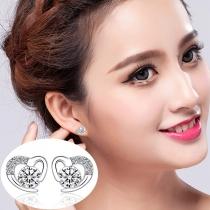 Sweet Style Rhinestone Inlaid Heart-shape Stud Earrings