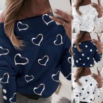 Fashion Oblique Shoulder Long Sleeve Star/Heart Printed T-shirt