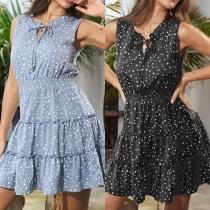 Fresh Style Sleeveless Round Neck Ruffle Hem Dots Printed Dress