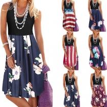 Fashion Sleeveless Round Neck High Waist Printed Spliced Hem Dress