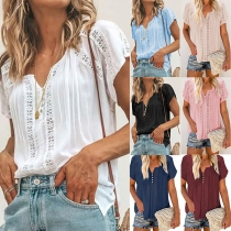 Fashion Solid Color Short Sleeve V-neck Hollow Out Loose Top
