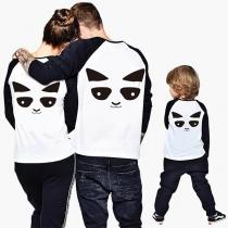 Cute Panda Pattern Long Sleeve Round Neck Parent-child T-shirt