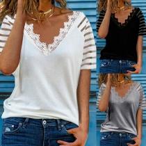 Fashion Gauze Lace Spliced Short Sleeve V-neck Solid Color T-shirt