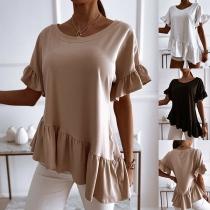 Fashion Solid Color Ruffle Cuff Irregular Hem Solid Color Loose T-shirt