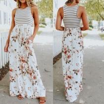 Fashion Striped Spliced Sleeveless Round Neck Printed Maxi Dress