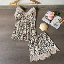 Sexy Backless V-neck Lace Spliced Leopard Printed Sling Top + Shorts Nightwear Set