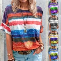 Fashion Short Sleeve Round Neck Tie-dye Printed Loose T-shirt