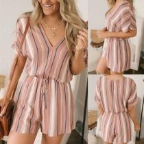 Fashion Short Sleeve V-neck High Waist Striped Romper