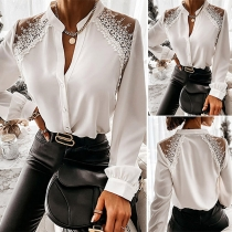 OL Style Long Sleeve Stand Collar Lace Spliced Blouse
