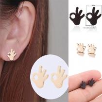 Cute Style OK Gesture Shape Stud Earrings