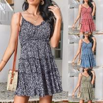 Fresh Style Backless V-neck Ruffle Hem Printed Sling Dress