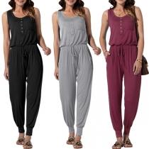 Fashion Solid Color Sleeveless Round Neck Elastic Waist Jumpsuit