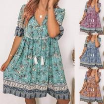 Bohemian Style Short Sleeve V-neck Loose Printed Dress