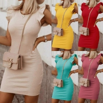 Elegant Solid Color Ruffle Cuff Round Neck Solid Color Slim Fit Dress