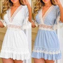 Sexy Lace Spliced Short Sleeve V-neck High Waist Dress