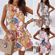 Sweet Style Sleeveless Round Neck Middle Waist Printed Dress