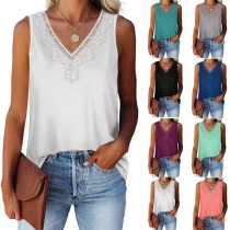 Fashion Lace Spliced V-neck Sleeveless Solid Color Top