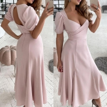 Sexy Backless V-neck Short Sleeve High Waist Solid Color Dress