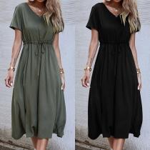 Fashion Solid Color Short Sleeve V-neck Drawstring Waist Dress