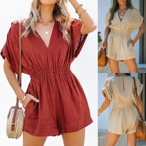 Fashion Solid Color Short Sleeve V-neck High Waist Romper