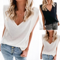Casual Style Sleeveless V-neck Solid Color Loose Top