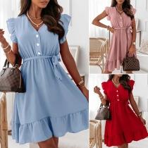 Sweet Style Sleeveless V-neck Ruffle Hem Solid Color Dress