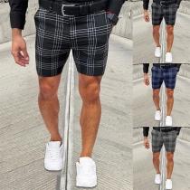 Fashion Middle Waist Slim Fit Man's Plaid Shorts