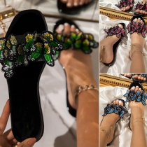 Fashion Flat Heel Round Toe Butterfly Outdoor Slippers