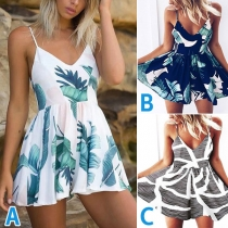 Sexy Backless V-neck High Waist Sling Printed Romper