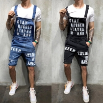 Casual Style Letters printed High Waist Man's Denim Overalls Shorts