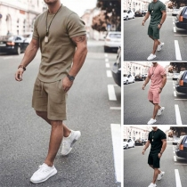 Fashion Solid Color Short Sleeve Round Neck T-shirt + Shorts Man's Sports Suit
