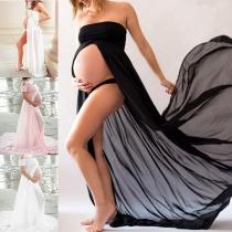 Sexy Off-shoulder Boat NeckSlit Hem Solid Color Chiffon Maternity Dress