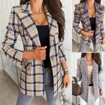 OL Style Long Sleeve Slim Fit Single-button Plaid Blazer