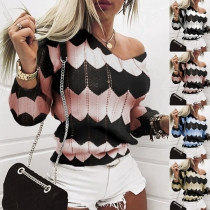 Fashion Contrast Color Long Sleeve V-neck Knit Sweater