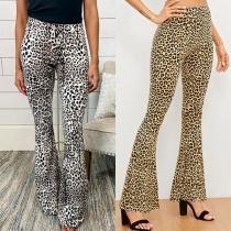 Fashion High Waist Leopard Printed Flared Pants