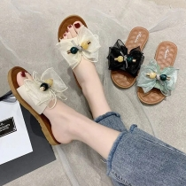 Sweet Style Flat Heel Round Toe Bow-knot Outdoor Beach Slippers
