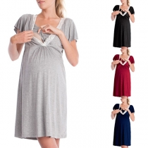 Fashion Solid Color Lotus Sleeve Lace Spliced V-neck Multifunctional Maternity Dress