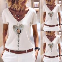 Fashion Short Sleeve V-neck Heart Pattern T-shirt