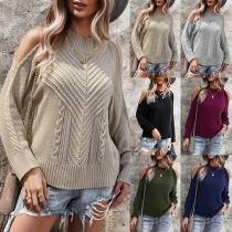Sexy Off-shoulder Long Sleeve Mock Neck Sweater