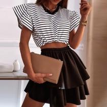 Sweet Style Lotus Sleeve Round neck Stripe Crop Top + Skirt Two-piece Set