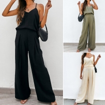 Sexy Backless V-neck Sling Top + High Waist Wide-leg Pants Two-piece Set