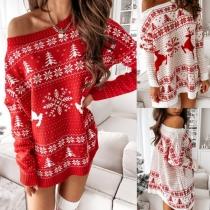 Fashion Long Sleeve Round Neck Christmas Printed Knit Dress