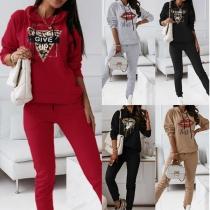 Casual Style Lip Pattern Hooded Sweatshirt + Pants Two-piece Set