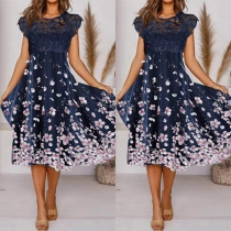 Sweet Style Sleeveless Round Neck High Waist Lace Spliced Printed Dress