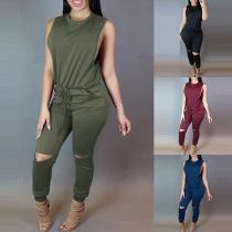 Chic Style Sleeveless Round Neck Drawstring Waist Ripped Jumpsuit