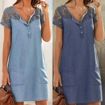 Fashion Hollow Out Lace Spliced Short Sleeve Front-pocket Denim Dress