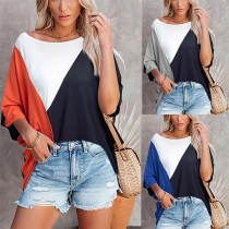 Casual Style Dolman Sleeve Round Neck Contrast Color T-shirt