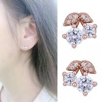 Fashion Rhinestone Inlaid Cherry Shaped Stud Earrings