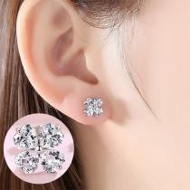 Fresh Style Rhinestone Four Leaf Clover Stud Earrings
